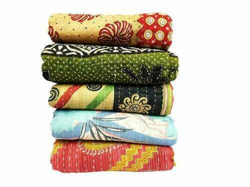 15 PC Lot Indian Kantha Quilts Handmade Vintage Reversible Blanket Bedspread