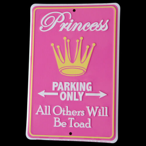 Princess Parking Only All Others TOAD Tin Sign Funny Garage//Shop//Home Wall Decor