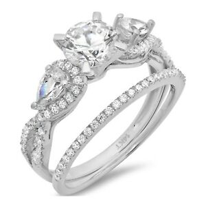2-0-ct-Round-Cut-Bridal-Engagement-Wedding-Ring-Band-Set-14k-Solid-White-Gold