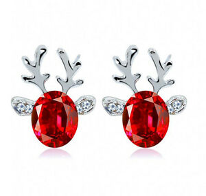 Xmas-Fashion-Christmas-Crystal-Deer-Earrings-Ear-Stud-Women-Girls-039-Jewelry-Red