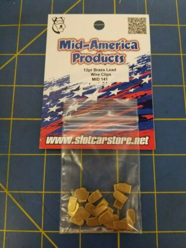 Mid America Products MID 141 12 Pr Brass Lead Wire Clips 1//24 Slot Car