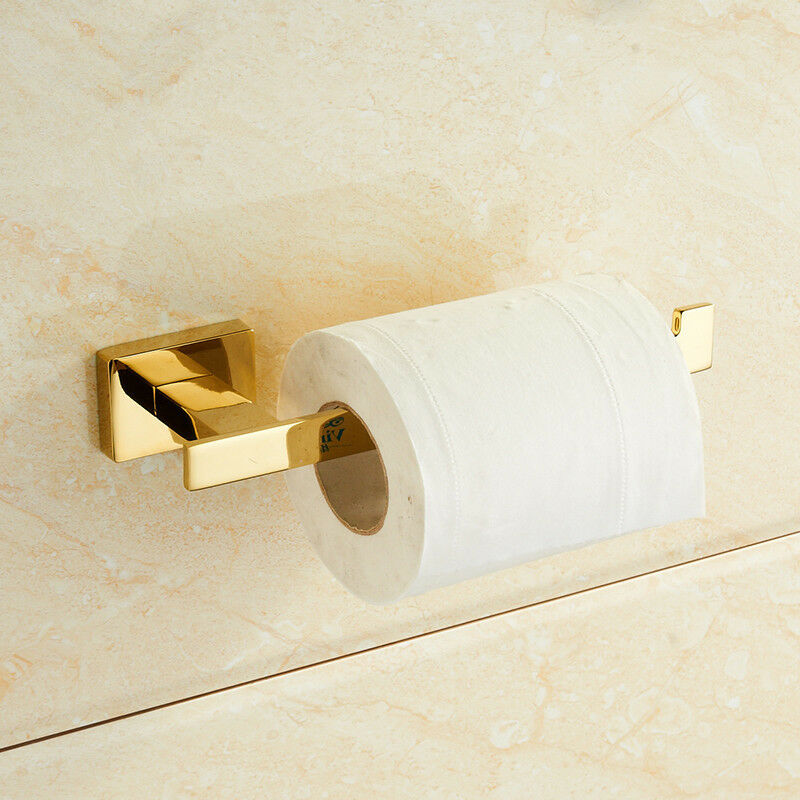 Stainless Steel Polished Gold Toilet Roll Holder Wall Mounted Paper Holder