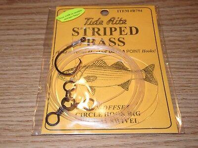 4 STRIPED BASS TIDE RITE R795-6//0 CIRCLE HOOK 2-PK RIGS SALTWATER FISH RIG