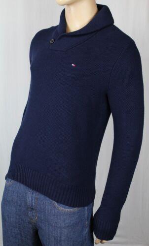 Tommy Hilfiger Navy Blue Shawl Collar Sweater Pima Cotton Wool NWT $90