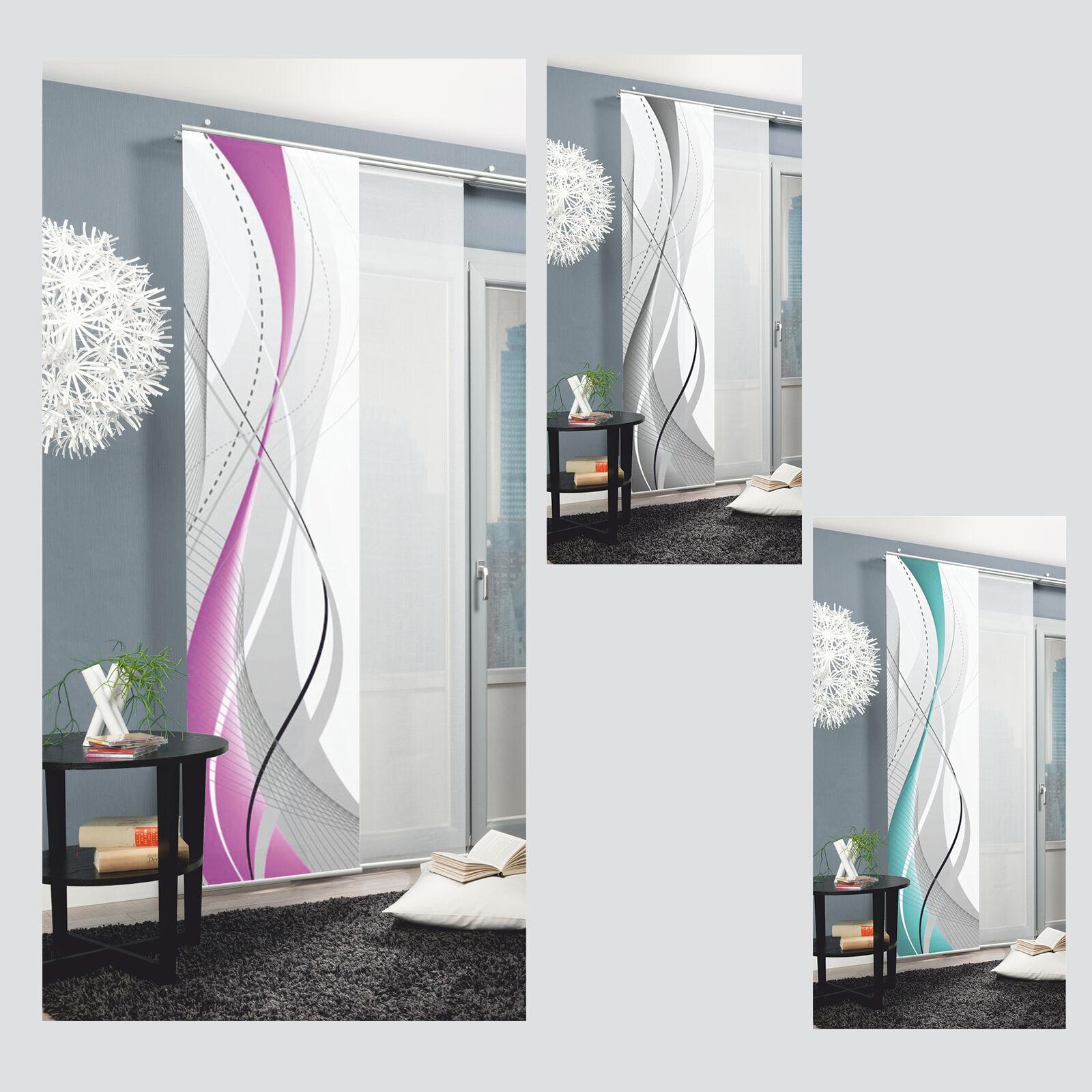 carlisle welle graphisch abstrakt schiebevorhang raumteiler digital home wohnide ebay. Black Bedroom Furniture Sets. Home Design Ideas