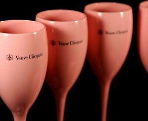 VEUVE-CLICQUOT-ROSE-CHAMPAGNE-PINK-POOLSIDE-ACRYLIC-POLYCARB-FLUTES-NEW-X-4