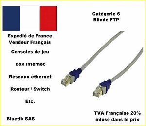 1m-CABLE-RESEAU-ETHERNET-RJ45-CAT6-blinde-F-UTP-Plaque-OR-XBOX-Livebox-Free-A3