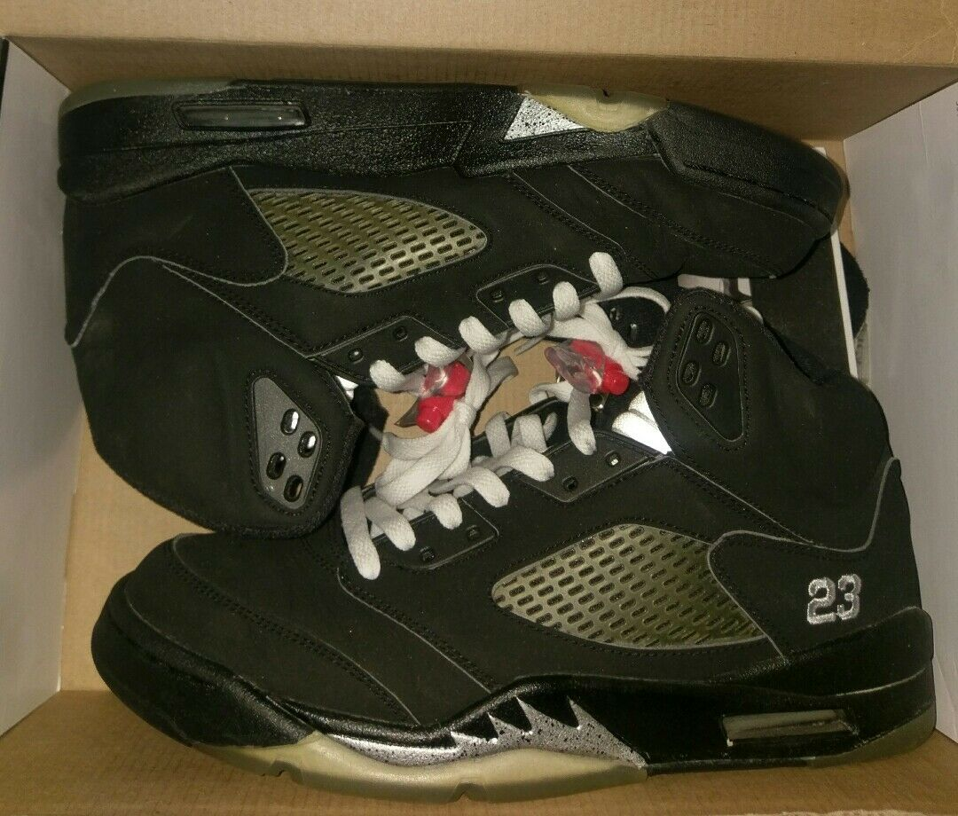 Air Jordan 5 V 2007 Black Metallic 136027-004 VNDS Size 8.5 2006 3 4 6 11 12 13