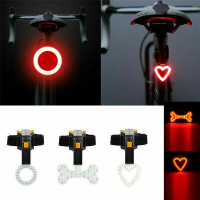 USB Rechargeable Bike Rear Tail Light LED Bicycle Warning Safety Smart Lamp Red
