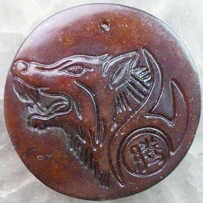 F0004513 Hand Carved Chinese Old jade Wolf 's Head Pendant Bead