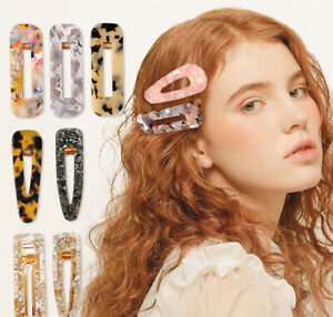 Women Vintage Sweet Leopard Resin Hair Snap Clip Bobby Slide Barrette Hairpin