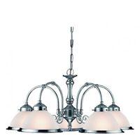 Searchlight Lighting 1045-5 American Diner Satin Silver 5 Light Ceiling Pendant