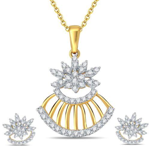 14k Oro Amarillo FN Conjunto Flores Colgante con Diamante