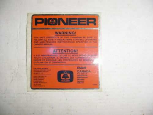 PIONEER DECAL # 507 432 833 POULAN P41 P42 P61 AIR FILTER COVER