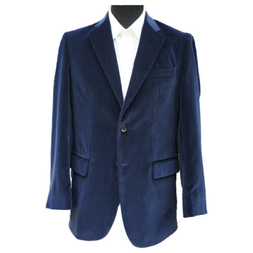"Navy Blue Velvet Jacket 42/"" Long"