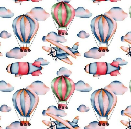 Balloons plane aero 100/% cotton fabric width 160cm kids printed new humingbird