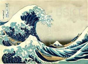 CUADRO tamaño grande XXL, HOKUSAI, ola de KANAGAWA, Acabado de galería, NUEVO