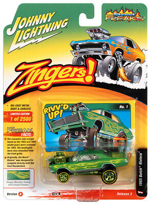 Johnny Lightning 1:64 Street Freaks Ver A 1965 Buick Riviera Yellow Flames
