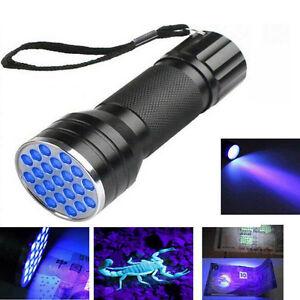 21LED-UV-Ultra-Violet-Mini-Torche-Lumiere-Lampe-Aluminium-Blacklight-Noir
