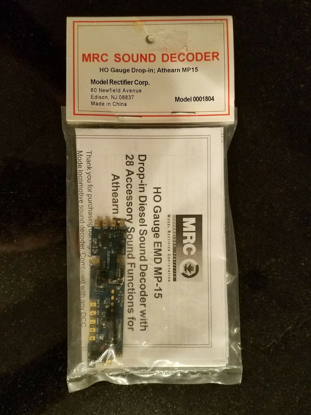 MRC SOUND DECODER HO GAUGE DROP-IN, ATHEARN MP15 MODEL 0001804 NEW