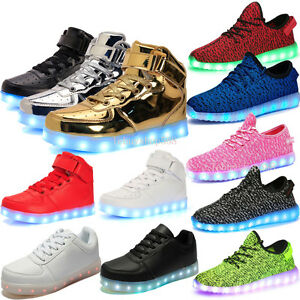 417227ca4b8e Unisex Light UP LED Shoes High Top 7 Colorful Glow shoe Casual ...