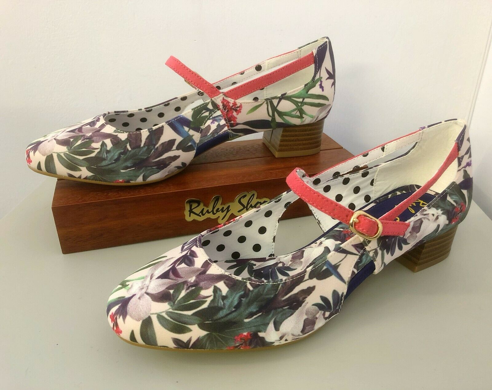 RUBY SHOO IRIS Sage Heeled SHOES 7 7 7 Floral White Pink WEDDING OCCASION 100542