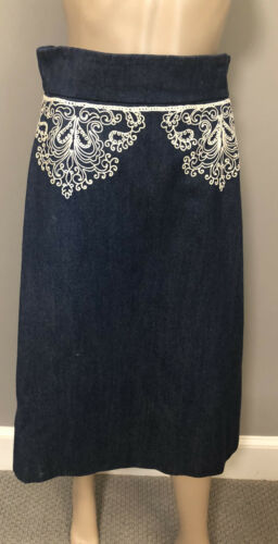 Beautiful Vintage embroidered Denim Skirt by Diorl