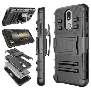 For LG K40/K12 Plus Armor Case Cover With Kickstand Belt Clip + Screen Protector