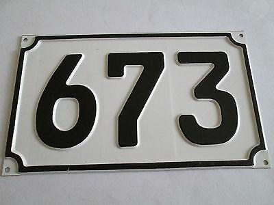 Aufrichtig Blech-hausnummer Nr. 673 Schwarze Zahl Auf Weisser Hintergrund 19 Cm X 11 Cm Ein Unverzichtbares SouveräNes Heilmittel FüR Zuhause