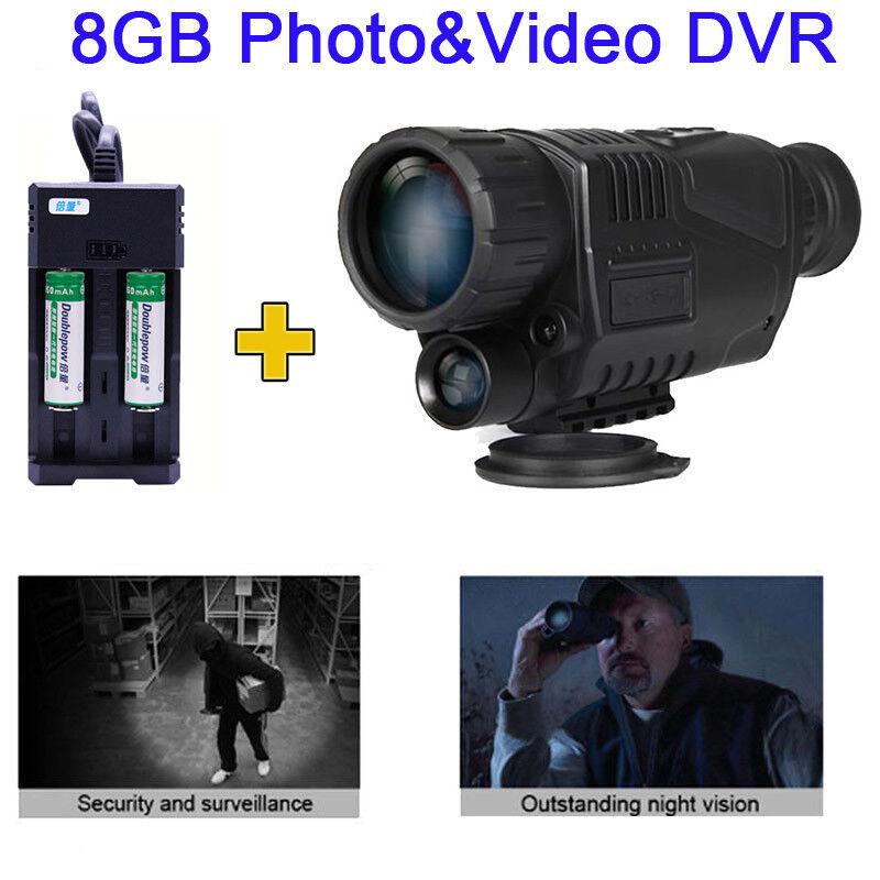 WG-37 5X40 Optical Digital IR Night Vision Monocular Telescopes Scope +2 Battery