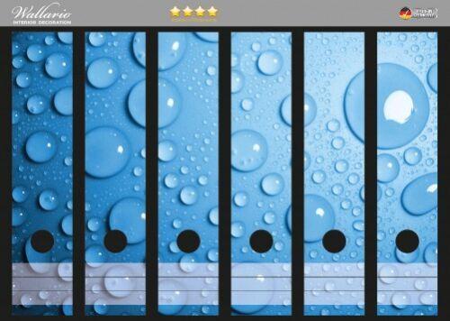 Wassertropfen blau Wallario Ordnerrücken selbstklebend für 6 breite Ordner