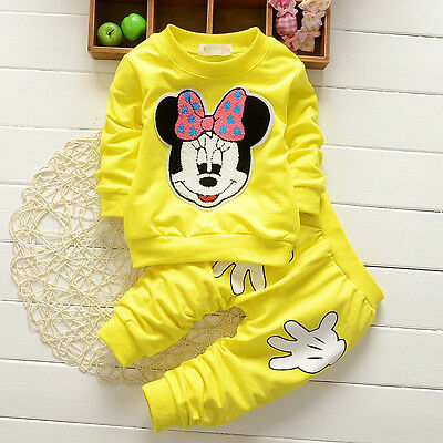 Baby Girl Mouse 2pcs Long Sleeves Sweatshirt Pullover Pants Set Sportswear Suit