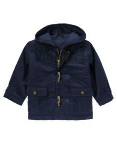 485d31d709f1 GYMBOREE SKI SCHOOL NAVY CORDUROY TOGGLE HOODED JACKET 6 12 24 2T 3T ...