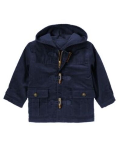 GYMBOREE SKI SCHOOL NAVY CORDUROY TOGGLE HOODED JACKET 6 12 24  2T 3T 4T 5T NWT