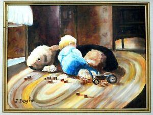 "M JANE DOYLE SIGNED ORIG ART OIL/CANV.PAINTING ""TWO SLEEPYHEADS""(FIGURE)FRAMED"