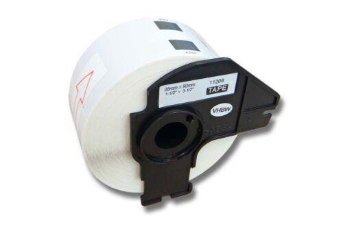 vhbw® 400 DRUCKER ETIKETTEN WEIß 38x90mm WASSERFEST für BROTHER P-touch DK-11208