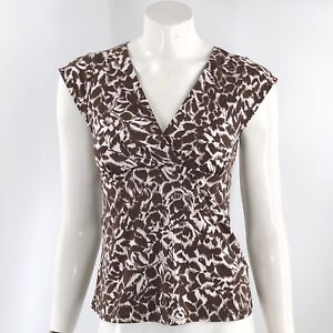 BCBG-Max-Azria-Top-Size-Medium-Brown-V-Neck-Tie-Back-Cap-Sleeve-Stretch-Womens