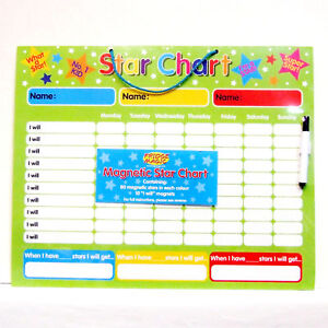 Magnetic-Reward-Star-Chart-3-Colours-for-3-Children-Dry-Wipe-Pen-Wipe-Clean-NEW
