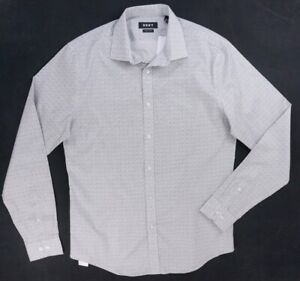 NEW-DKNY-WHITE-amp-GRAY-DETAILED-SLIM-FIT-STRETCH-BUTTON-DOWN-SHIRT-SZ-15-5-34-35