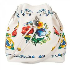 DOLCE & GABBANA Majolica Canvas Snakeskin Bucket Bag CLAUDIA White Blue 09680