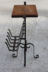 Vintage-Magazine-Newspaper-Basket-Side-Table-Plant-stand-Wrought-Iron-727
