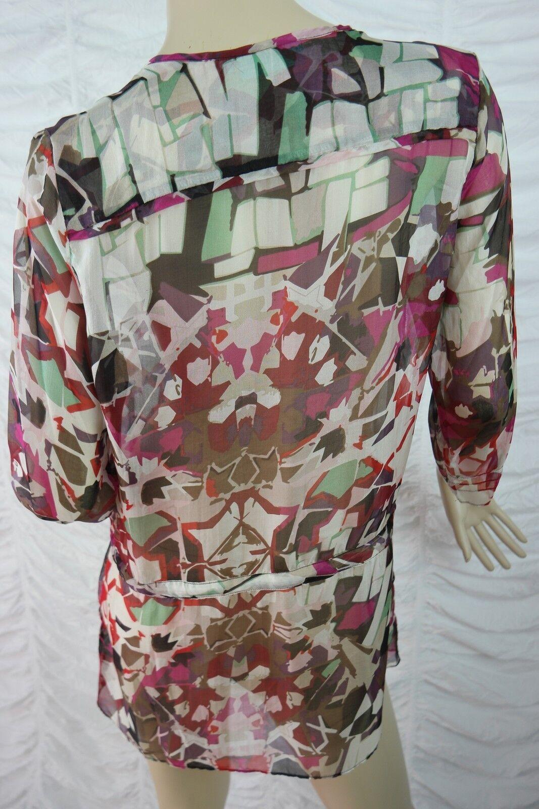 Blau ILLUSION silk lila geometric print 100% silk ILLUSION kaftan blouse Größe XS NWOT fb8726