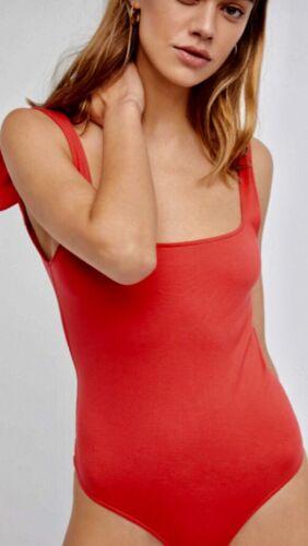 New Free People TIE SHOULDER Bodysuit White Black Ivory Blue Rose Red XS S M L