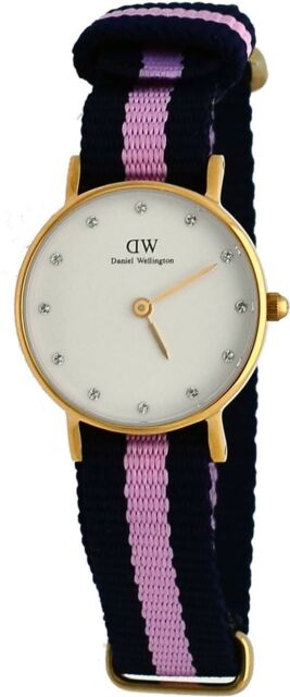 c4caa8fac83b Daniel Wellington 0906DW Women s Gold Tone 26mm Winchester Fabric Band Watch