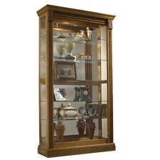 Estate Oak Curio Cabinet display glass oak sliding door lighting Wood wall