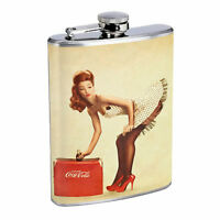 Flask 8oz Stainless Steel Classic Vintage Model Pin Up Girl Design-074 Whiskey