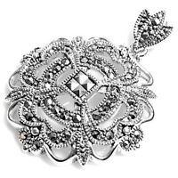 Flower Pendant With Marcasite Sterling Silver 925 Vintage Style Jewelry 32 Mm