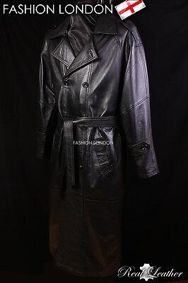 Men/'s Overcoat Black Real Sheep Leather Full Length Long DB Trench Coat 6965