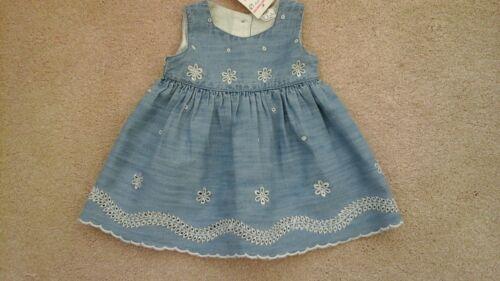 Baby Girls Pretty Denim Dress Size 0-3 Months Free UK P/&P