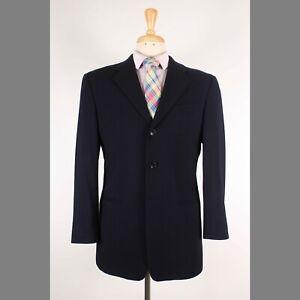 Armani Collezioni 39S Navy Solid Wool Three Button Mens Sport Coat Blazer Jacket